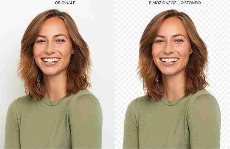 Mezzo busto di ragazza sorridente con capelli castani e maglione verde Photoshop e la grafica Lorenzdesign studio grafico