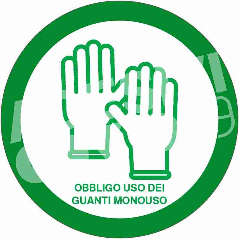 Adesivo diametro 12 cm colore verde con pittogramma guantia e scritta obbligo uso dei guanti monouso adesivi covid19 Lorenzdesign