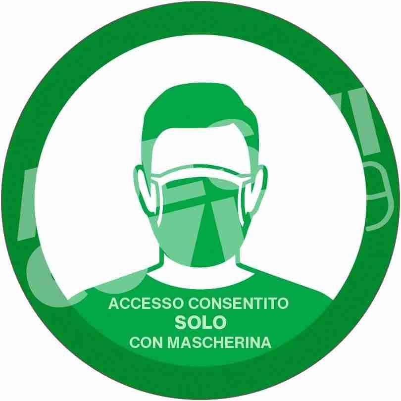 Adesivo diametro 12 cm colore verde con pittogramma volto uomo con mascherina e scritta accesso consentito solo con mascherina adesivi covid19 Lorenzdesign