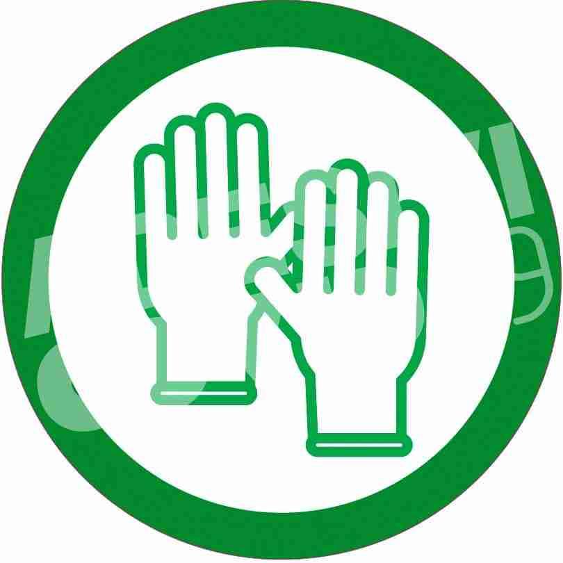 Adesivo diametro 12 cm colore verde con pittogramma guanti adesivi covid19 Lorenzdesign