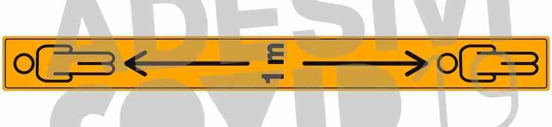 striscia colore giallo e nero adesiva a pavimento 1 metro con frecce e omini adesivi covid19 Lorenzdesign