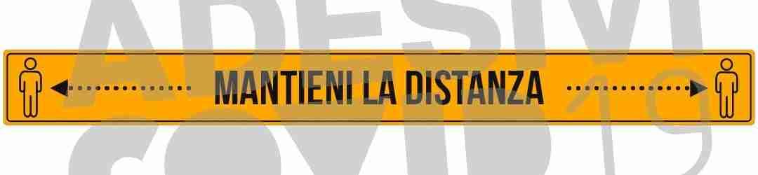 striscia colore giallo e nero adesiva a pavimento mantieni la distanza con frecce e omini adesivi covid19 Lorenzdesign