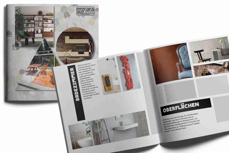 Copertina e interno brochure AidaDesign Diffusion Lorenzdesign studio grafico