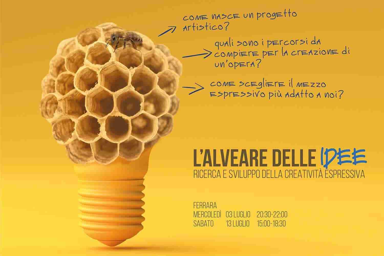 Alveare delle Idee - ricerca e sviluppo della creatività espressiva - lampadina con alveare e ape - fondo giallo Lorenzdesign Studio grafico