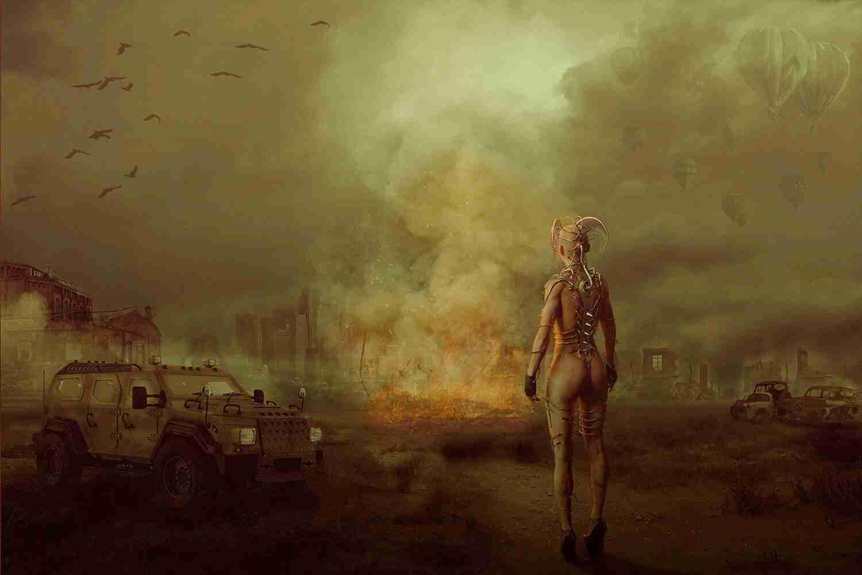 Paesaggio post atomico con personaggio punk, mezzo anfibio Lorenzdesign studio grafico