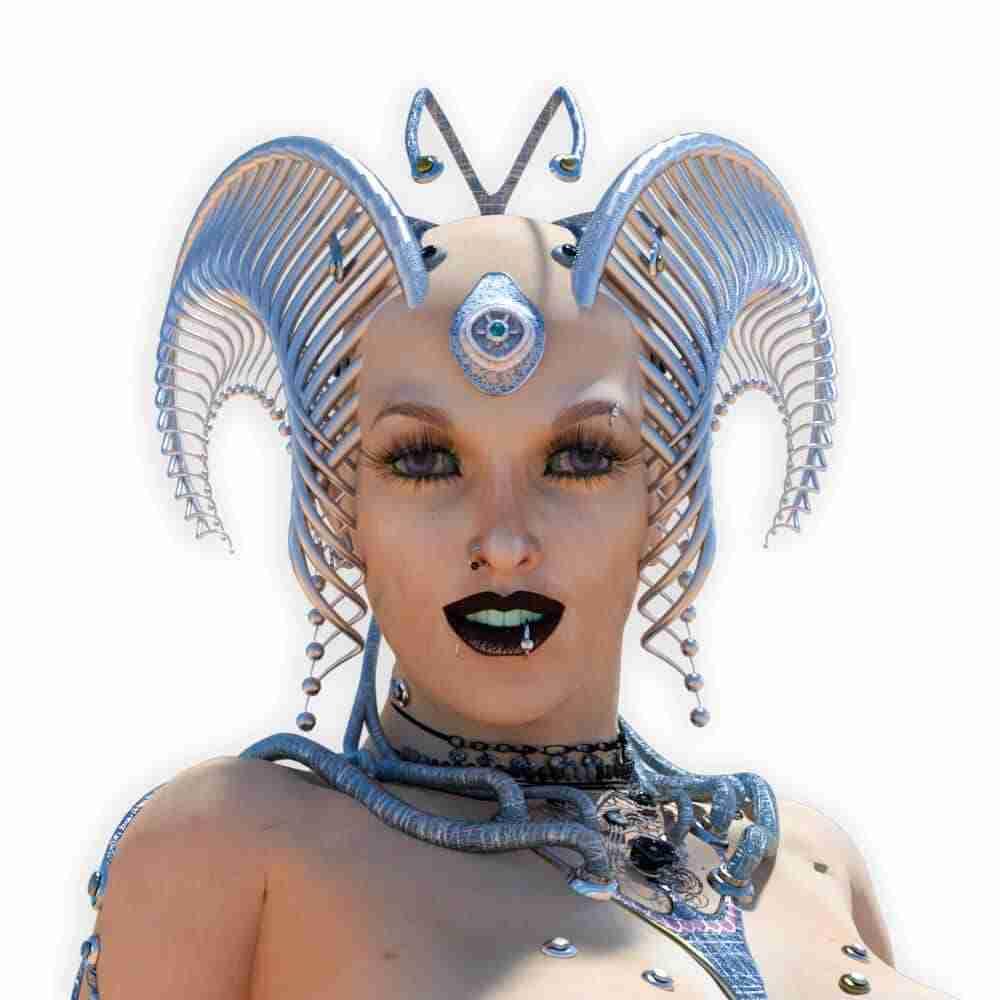 Volto sorridente del personaggio 3D Eve Lorenzdesign studio grafico