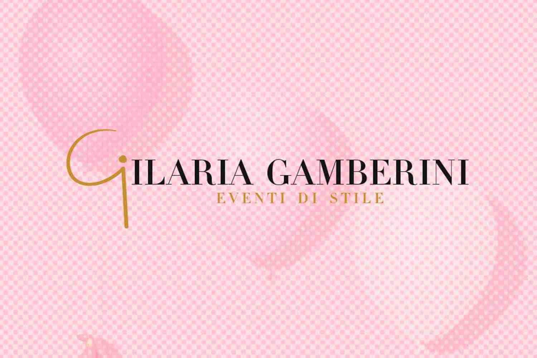 Logotipo Ilaria Gamberini eventi di stile fondo rosa con palloncini Lorenzdesign studio grafico
