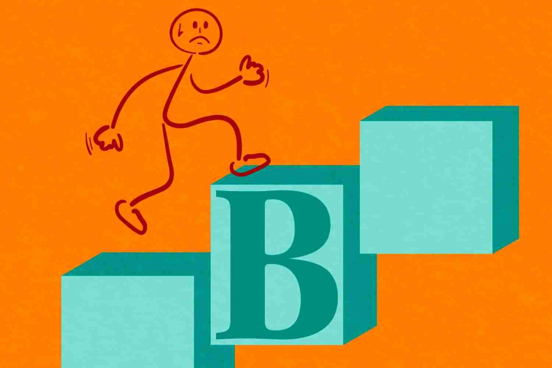 Escape plan B omino disegnato che scappa salendo le scale fondo arancione scritte verde/azzurro Lorenzdesign studio grafico