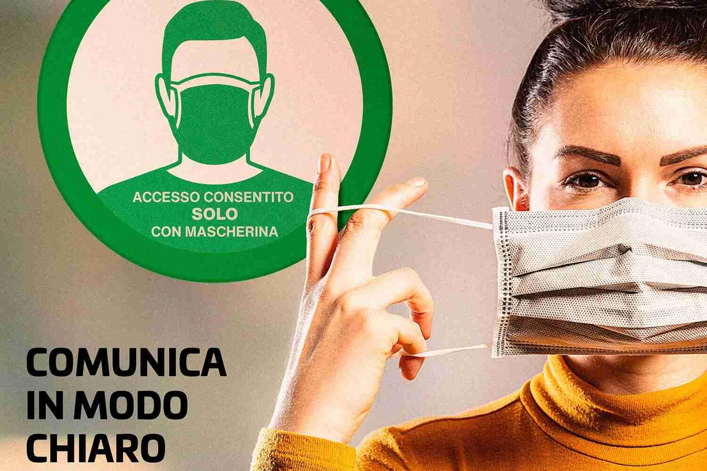 Comunica in modo chiaro donna con mascherina adesivo indossa la mascherina Lorenzdesign studio grafico