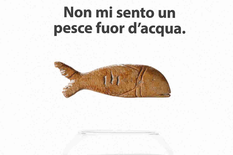 Non mi sento un pesce fuor d'acqua pesce fossile bolla acqua Lorenzdesign studio grafico