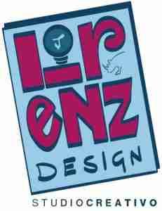Logo Lorenzdesign a colori blu rosso studio creativo
